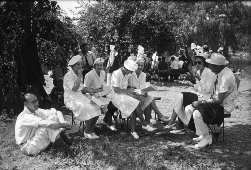 Reprezentacja brytyjskich florecistek przed ceremonią otwarcia igrzysk (fot. Getty Images)
