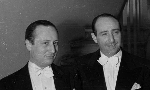 Władysław Szpilman i Bronisław Gimpel, czyli duet światowej sławy kompozytora i pianisty oraz skrzypka w lutym 1948 roku w Warszawie. Współpracę nawiązali już w 1934 roku, po 1945 grywali razem muzykę kameralną (z przerwą 1948-56). W 1963 stworzyli razem z trzema innymi muzykami Kwintet Warszawski, z którym koncertowali na całym świecie. Fot. PAP