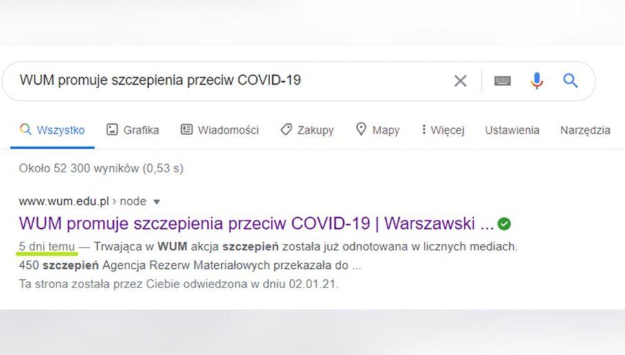 Screen shot wyszukiwania Google dla wspomnianego tytułu notki, który odsyła pod interesujący nas adres