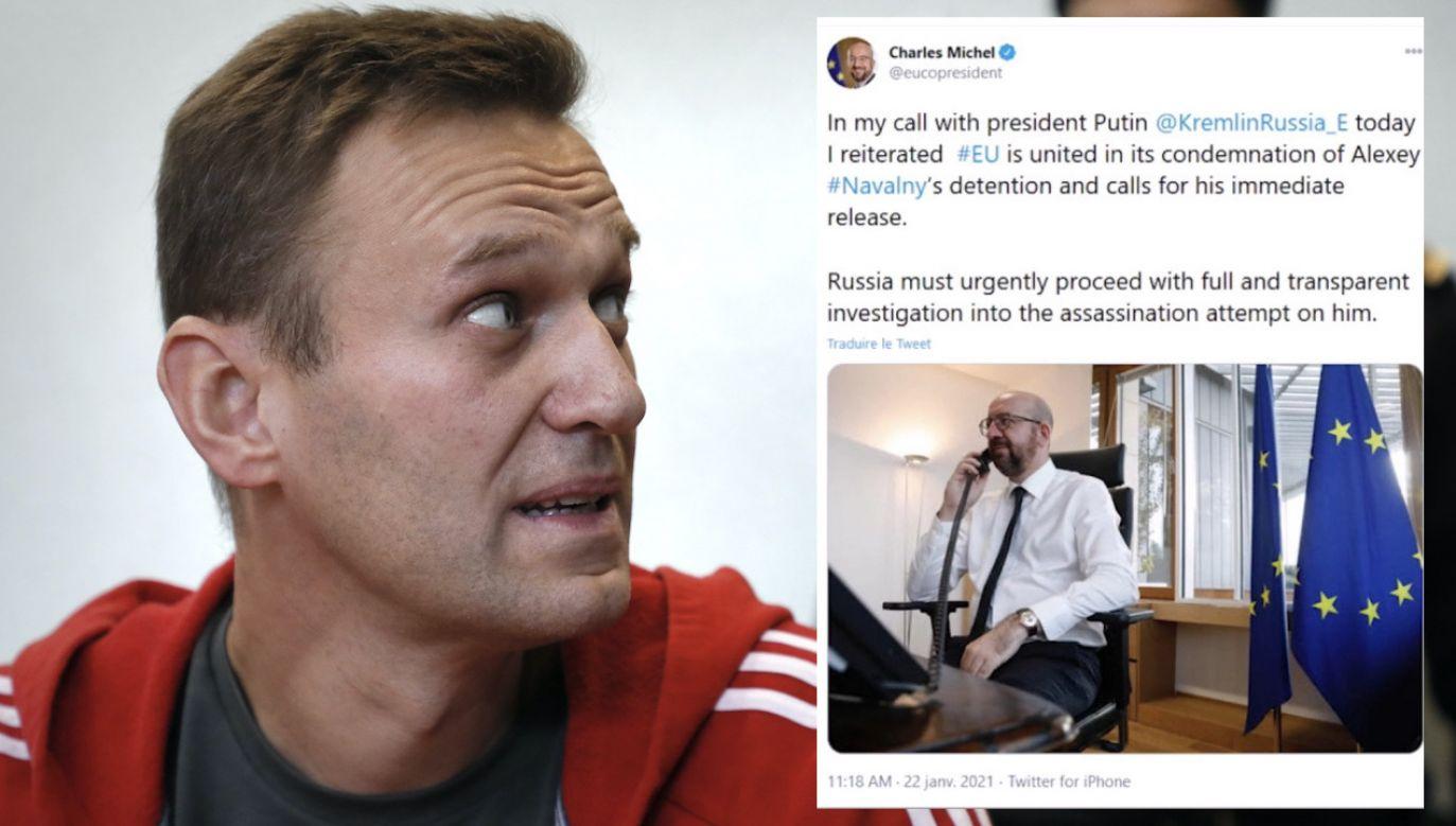 Michel oświadczył Putinowi, że UE apeluje do Rosji o szybkie uwolnienie Nawalnego (fot. PAP/EPA/Y.KOCHETKOV, tt/@eucopresident)