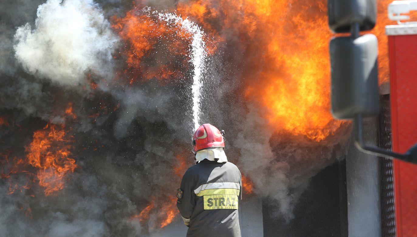 Na miejscu pracowało dziewięć zastępów straży (fot. Michal Fludra/NurPhoto via Getty Images)