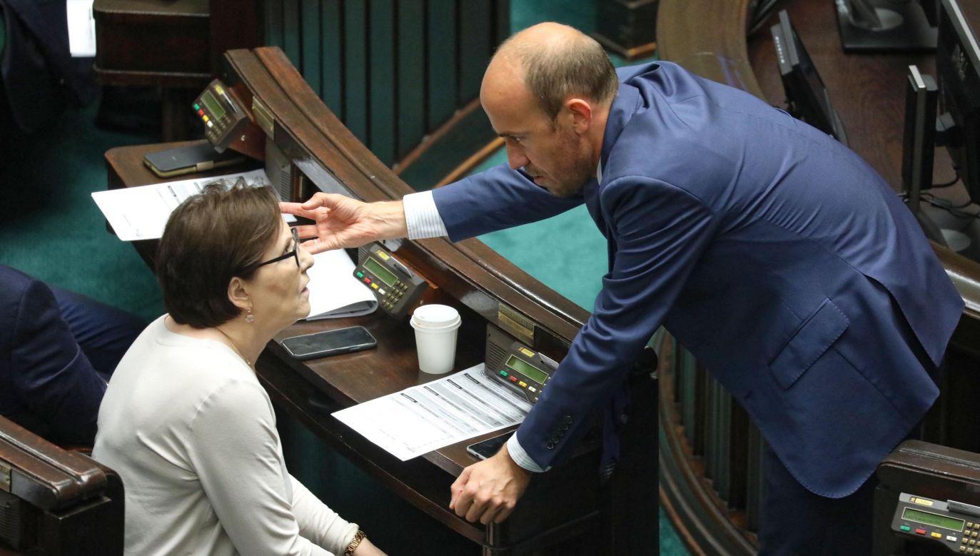 Ewa Kopacz i Borys Budka z Platformy Obywatelskiej (fot. PAP/Tomasz Gzell)