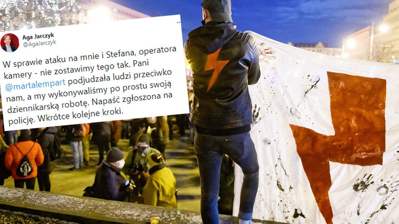 Ekipę Mediów Narodowych zaatakowano podczas demonstracji (fot. PAP/Jakub Kaczmarczyk; TT/Aga Jarczyk)