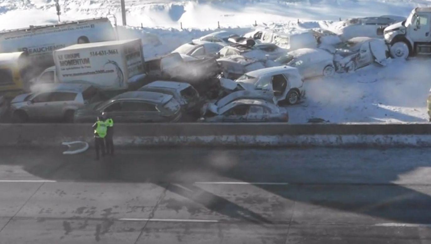 W wypadku na autostradzie uczestniczyło 200 pojazdów (fot. RADIO-CANADA - CANADIAN BROADCASTING CORPORATION)