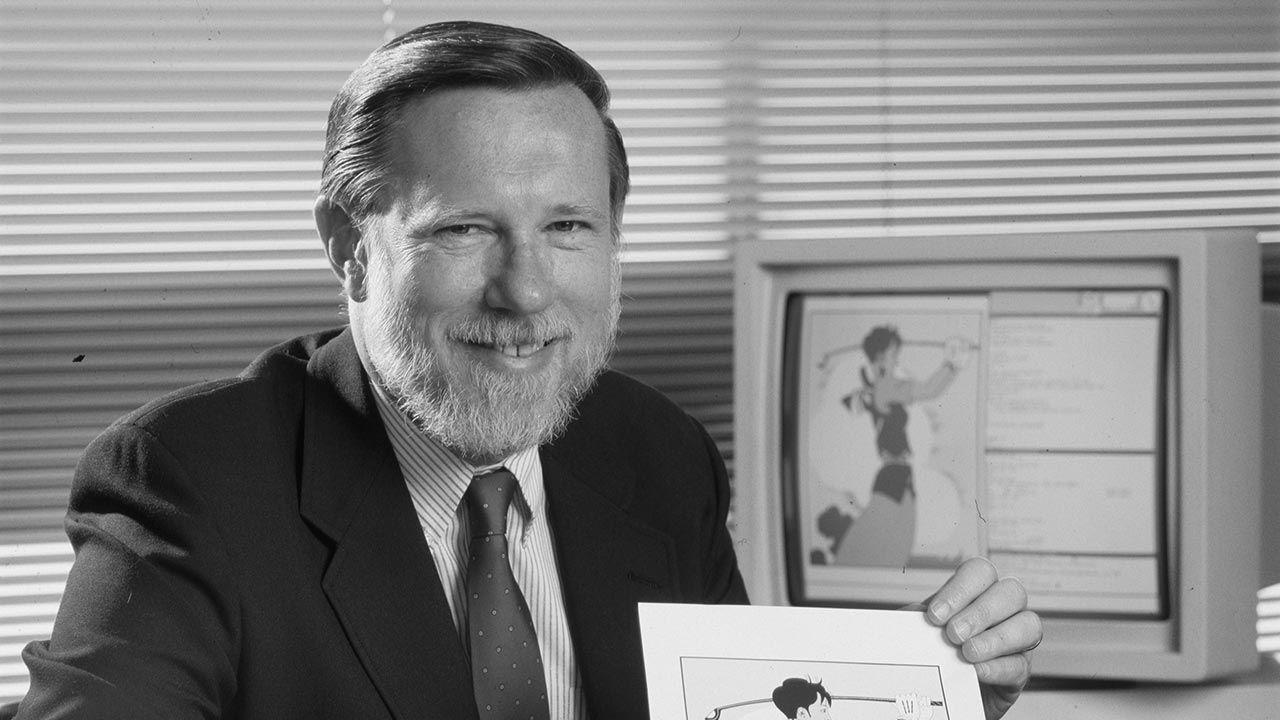 Wiceprezes Adobe Inc. Charles Greschke w 1987 roku (fot. Roger Ressmeyer/Corbis/VCG via Getty Images)