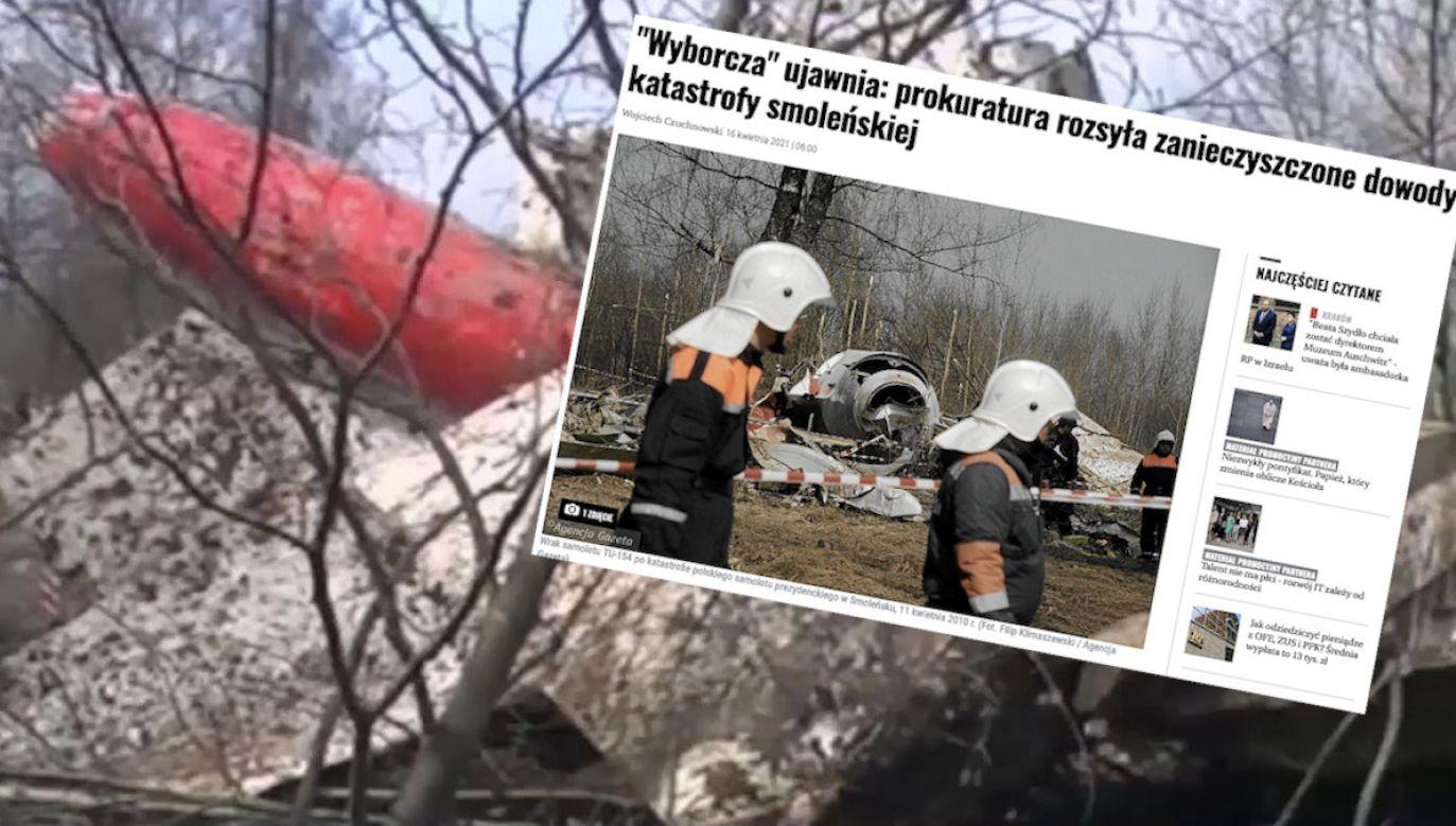 """Prokuratura odniosła się do dzisiejszej publikacji """"Gazety Wyborczej"""" (fot. TVP Info, screen GW)"""