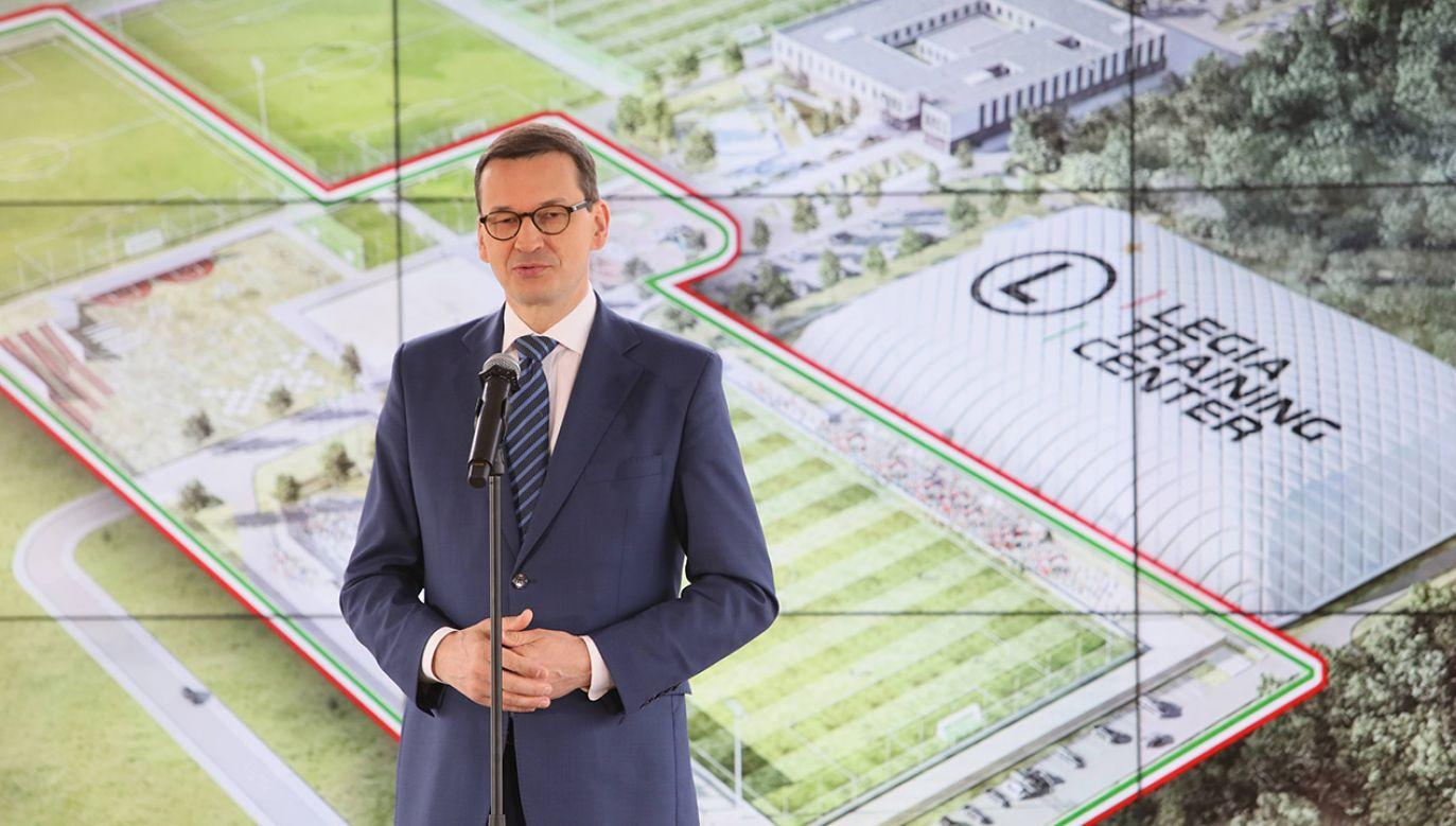 """W maju 2019 r. wmurowano kamień węgielny pod budowę Kompleksu Badawczo-Rozwojowego i Ośrodka Treningowo-Szkolnego """"Legia Training Center"""" (fot. arch. PAP/Leszek Szymański)"""