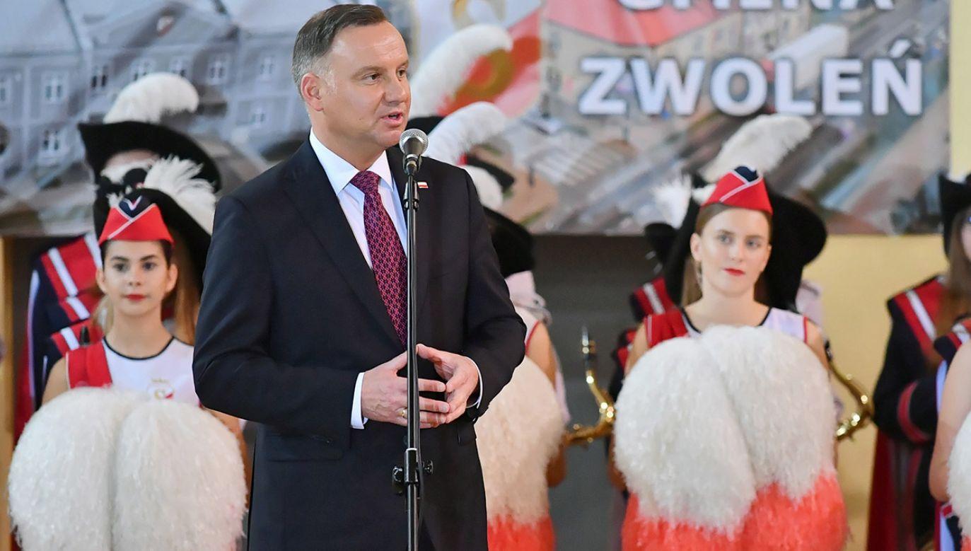 """""""Tak, tu jest UE, ale przede wszystkim tu jest Polska"""" – przypomniał Andrzej Duda (fot. PAP/Wojtek Jargiło)"""