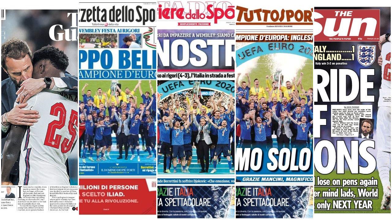 W mediach włoskich i brytyjskich panują zgoła odmienne nastroje po finale Euro 2020 (fot. Twitter)