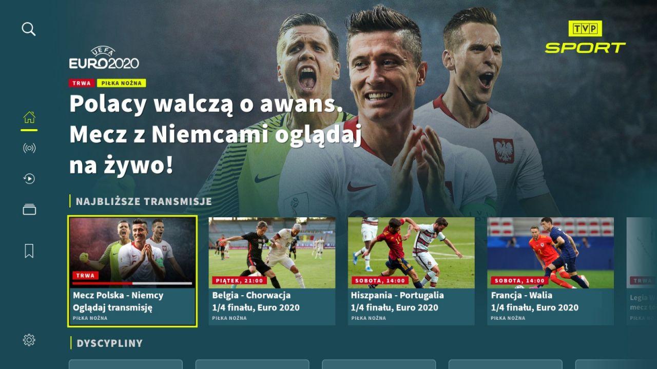 TVP Sport w aplikacji na telewizory Smart TV. Mecze Euro 2020 za darmo (sport.tvp.pl)