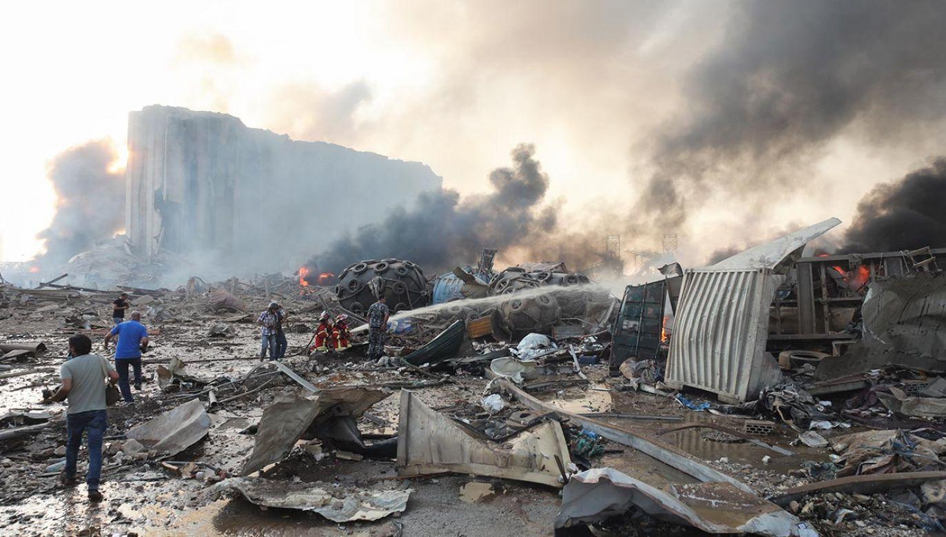 We wtorek w stolicy Libanu, Bejrucie, doszło do potężnej eksplozji (fot. Hasan Shaban/Bloomberg via Getty Images)