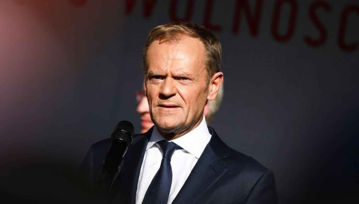 Donald Tusk skrytykował opozycję za poparcie projektu (fot. Beata Zawrzel/NurPhoto via Getty Images)