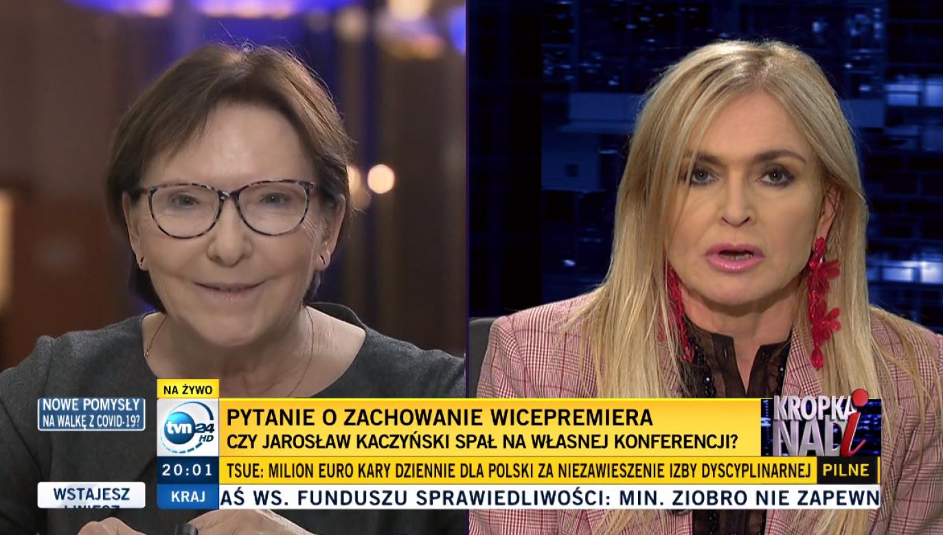 Ewa Kopacz, która z zawodu jest lekarzem szybko ucięła niestosowne pytanie Moniki Olejnik z TVN24 (fot. screen z programu Kropka nad i)