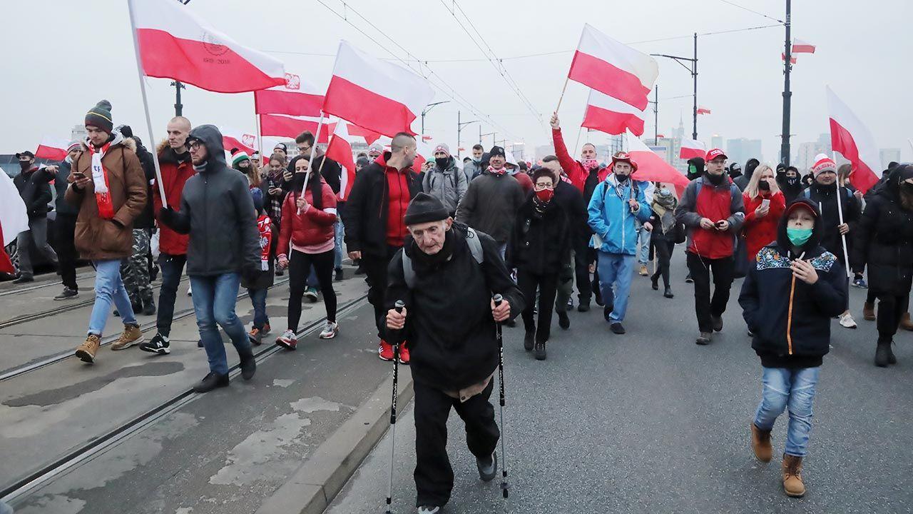 Marsz Niepodległości 11 listopada 2020 r. (fot. PAP/Wojciech Olkuśnik)