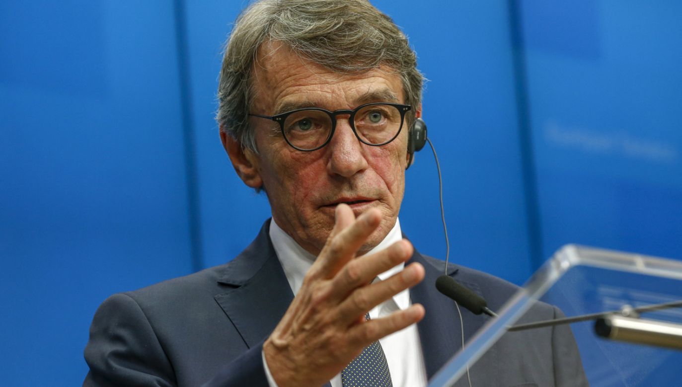 Przewodniczący Parlamentu Europejskiego David Sassoli (fot. PAP/EPA/JULIEN WARNAND)