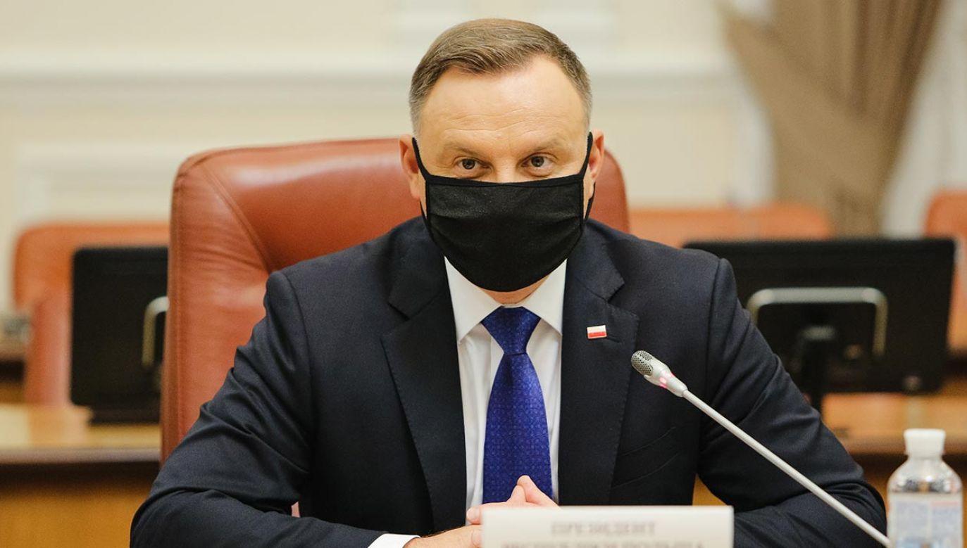 Andrzej Duda skierował list do uczestników zgromadzenia ogólnego sędziów TK (fot. Sergii Kharchenko/NurPhoto via Getty Images)