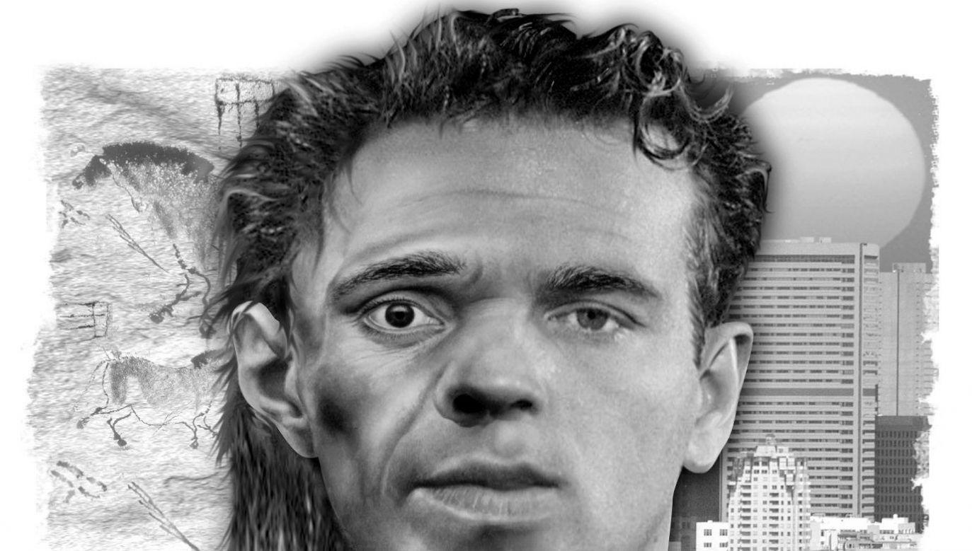 Grafika Ricka Nease'a przedstawiająca ludzką twarz: w połowie neandertalską, w połowie nowoczesną; w tle scena jaskiniowa wtapiająca się w nowoczesną panoramę. Fot. The Detroit Free Press / Tribune News Service via Getty Images