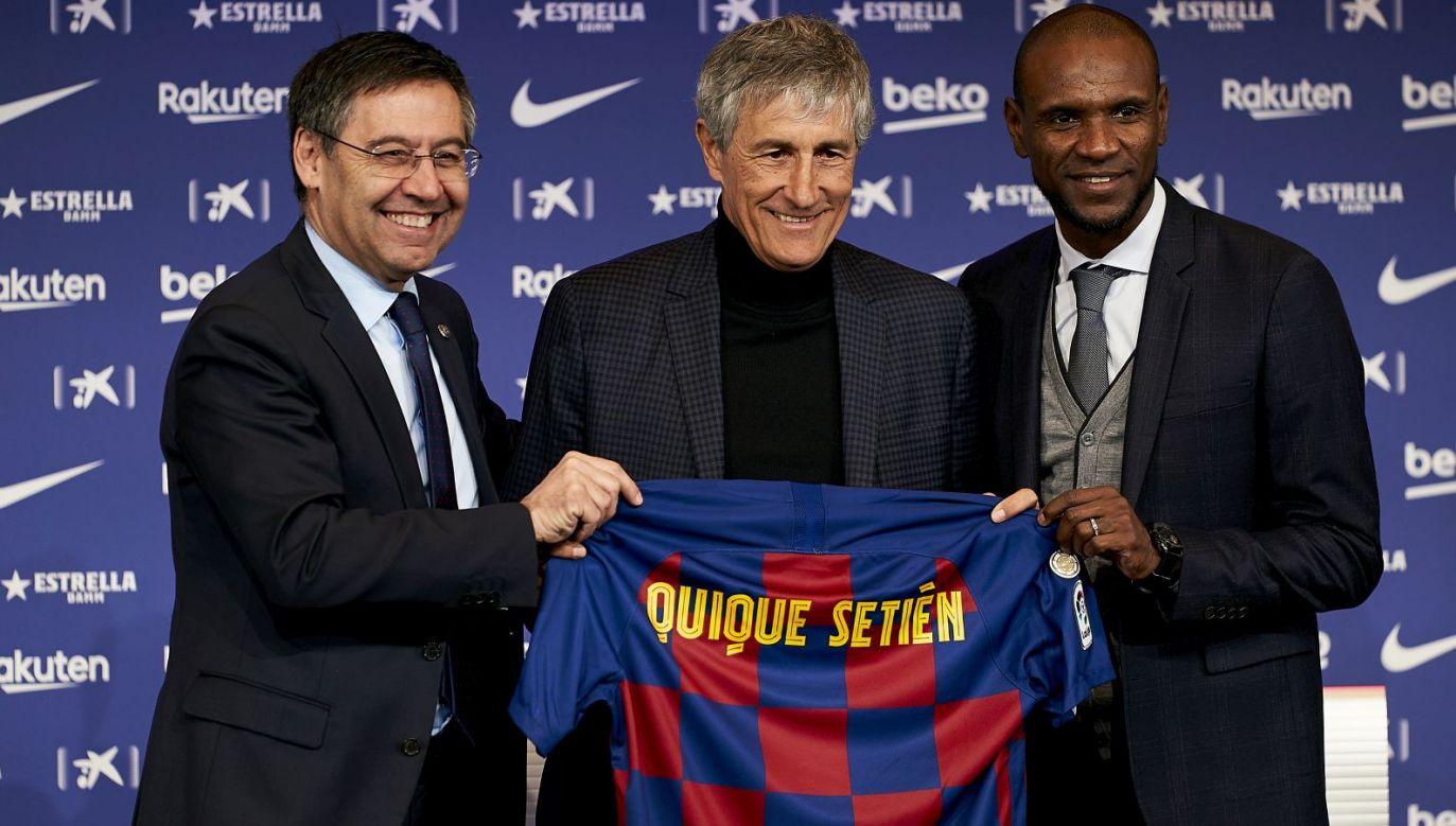 Josep Bartomeu, Quique Setien, Eric Abidal (fot. Getty Images)