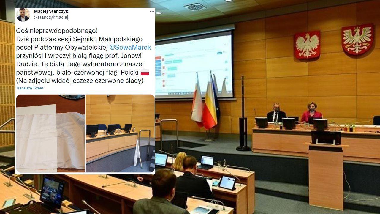Poseł Marek Sowa przyszedł na debatę w sejmiku małopolskim z białą flagą (fot. www.malopolska.pl)