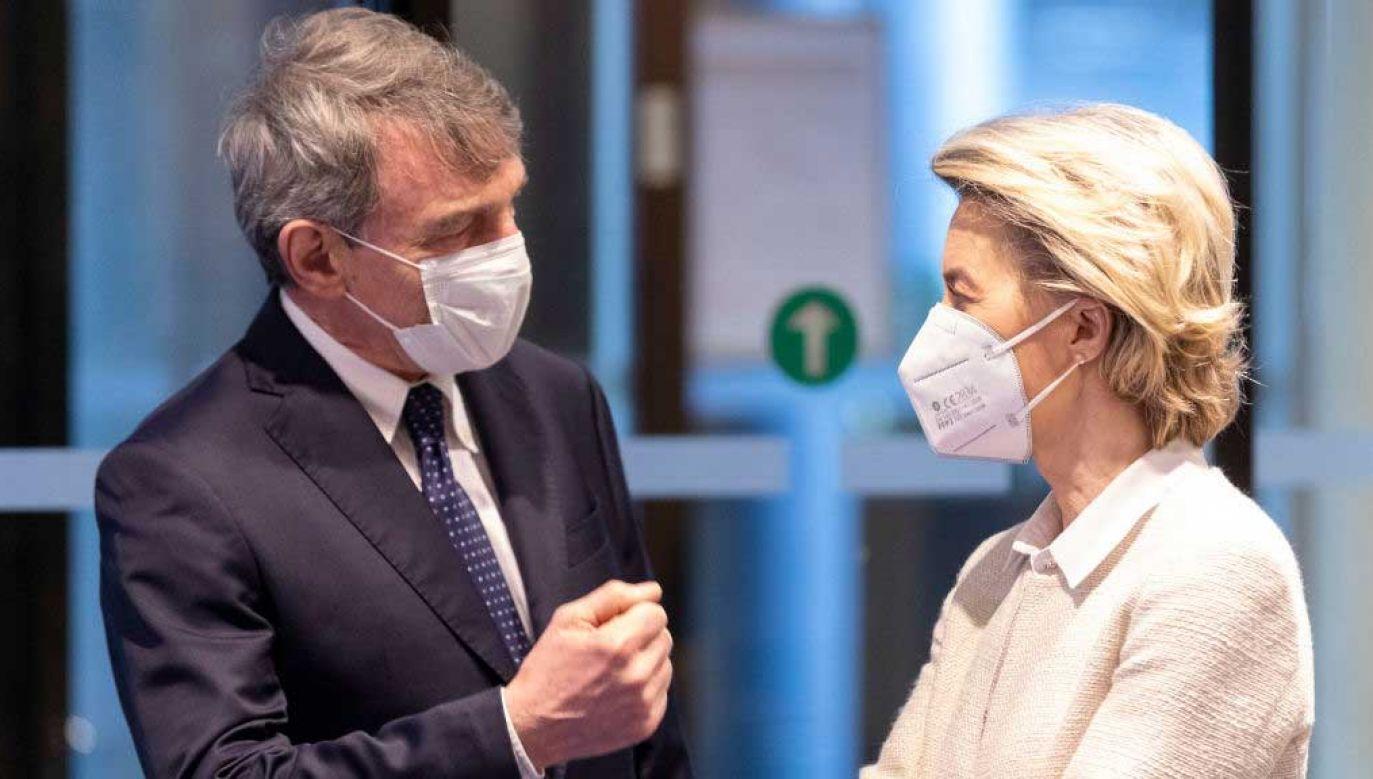 David Sassoli, przewodniczący PE, i Ursula von der Leyen, szefowa KE (fot.  Thierry Monasse/Getty Images)