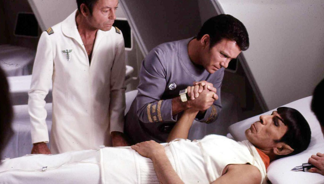 "William Shatner grał postać kapitana Kirka (w środku) w serialu ""Star Trek"" (fot.  FilmPublicityArchive/United Archives via Getty Images)"