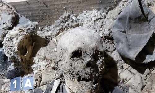 Szczuczyn, krypta m.in. pijarów w kościele pw. Imienia Najświętszej Marii Panny. Pochówek anonimowego pijara, bardzo dobrze zachowana odzież zmarłego, ciało uległo również częściowej mumifikacji. Fot. T. Kozłowski