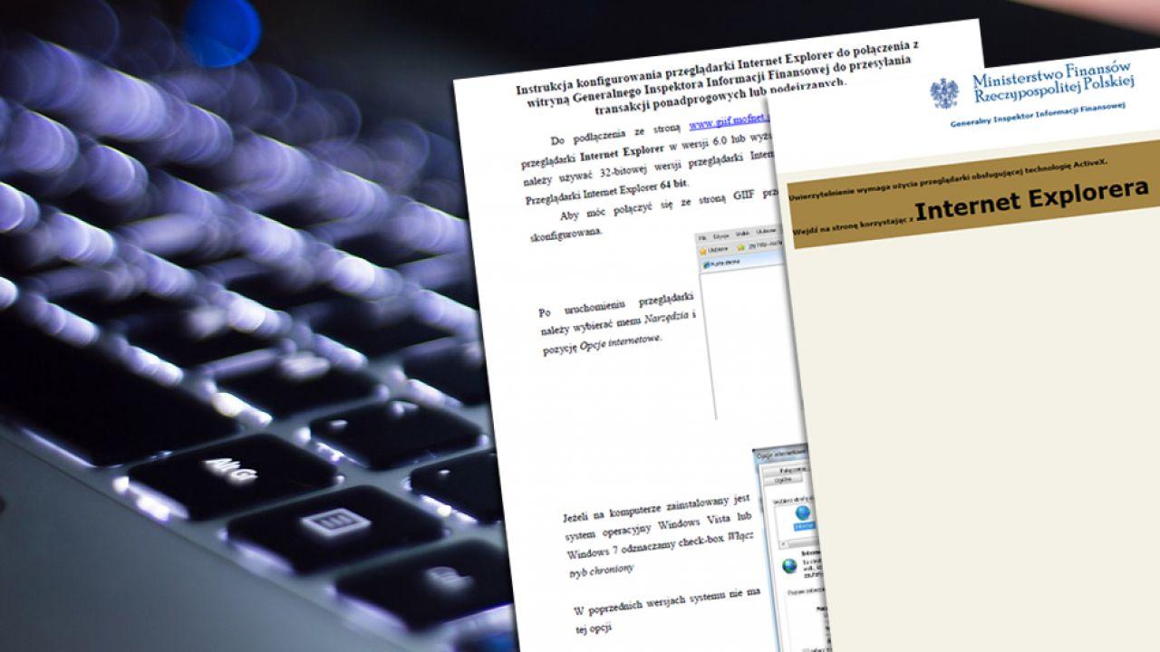 Strona Internetowa Generalnego Inspektora Informacji Finansowej działa tylko przy użyciu Internet Explorer(fot. Pixabay.com)