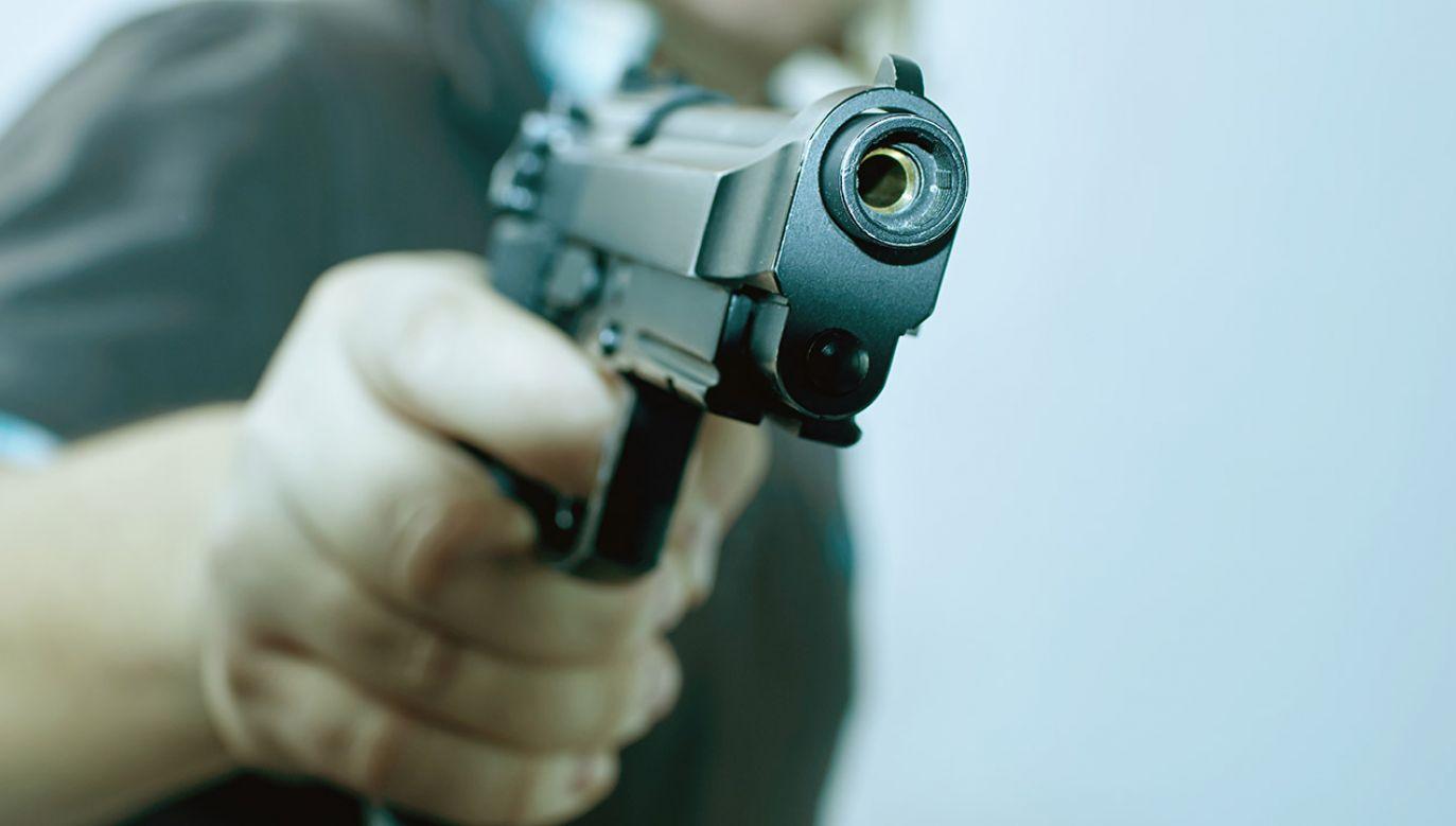 Broń, z której włamywacz celował do policjantów, okazała się atrapą (fot. Shutterstock/allstars)