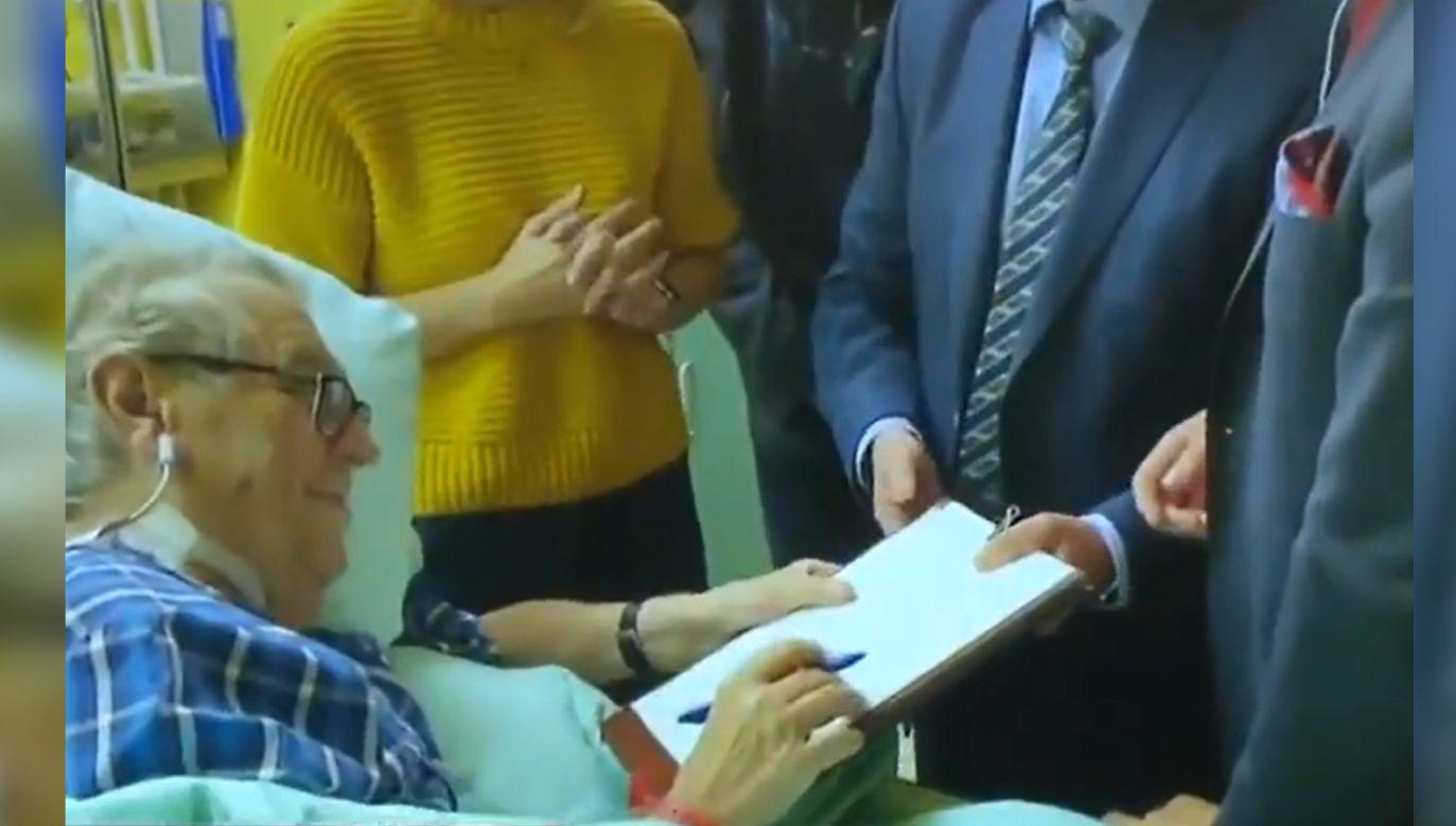 Prezydent Czech Milosz Zeman od pewnego czasu przebywa w szpitalu (fot. BrnoNewsCTV/Twitter)