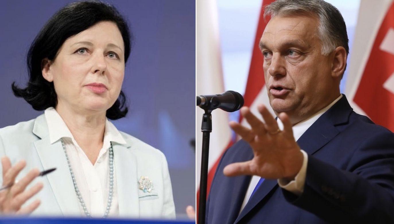 Wiceprzewodnicząca KE Viera Jourova obraziła obywateli Węgier uważa premier Viktor Orban (fot. Thierry Monasse/Getty Images, PAP/Leszek Szymański)