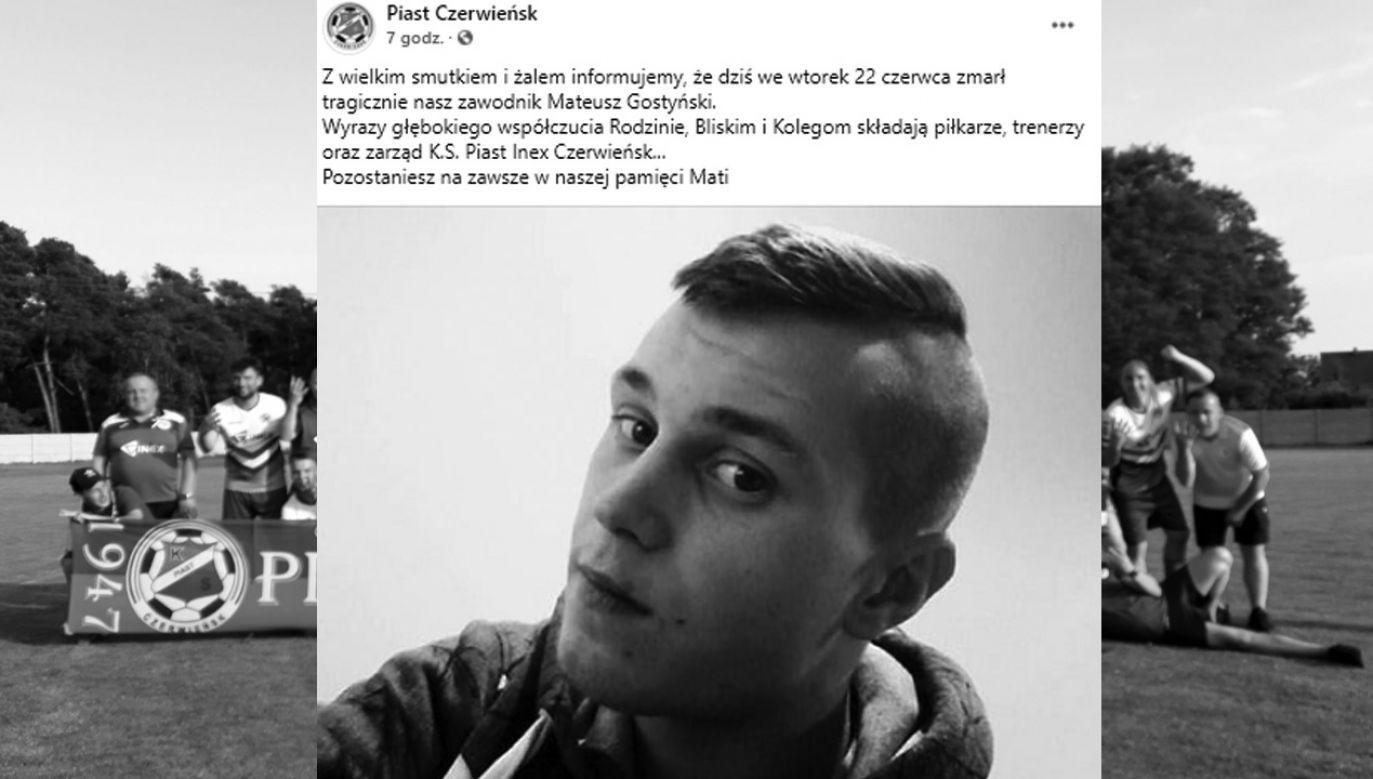 Mateusz Gostyński miał 25 lat (fot. Facebook/Piast Czerwieńsk)