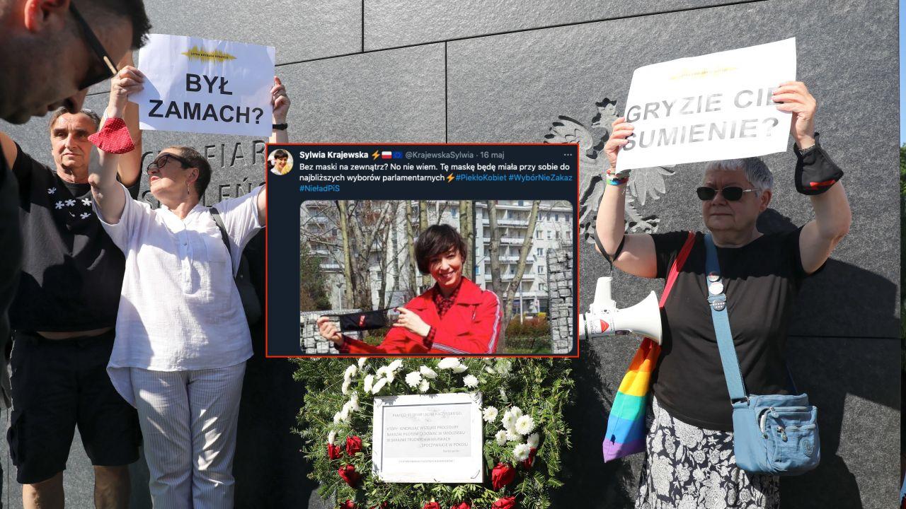 Pikieta podczas uroczystości pod pomnikiem Ofiar Tragedii Smoleńskiej na pl. Piłsudskiego w Warszawie (fot. PAP/Albert Zawada)