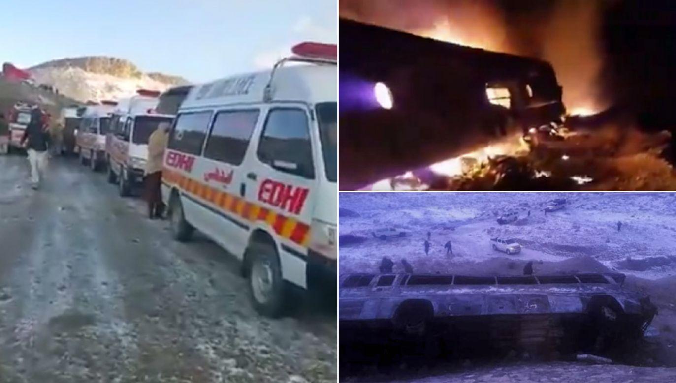 Autobus stanął w płomieniach (fot. TT/Quetta Express/Regional Telegraph)