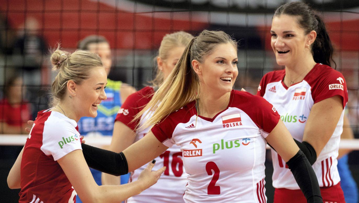 Radość Polek podczas meczu mistrzostw Europy siatkarek grupa B ze Słowenią (fot. PAP/Grzegorz Michałowski)
