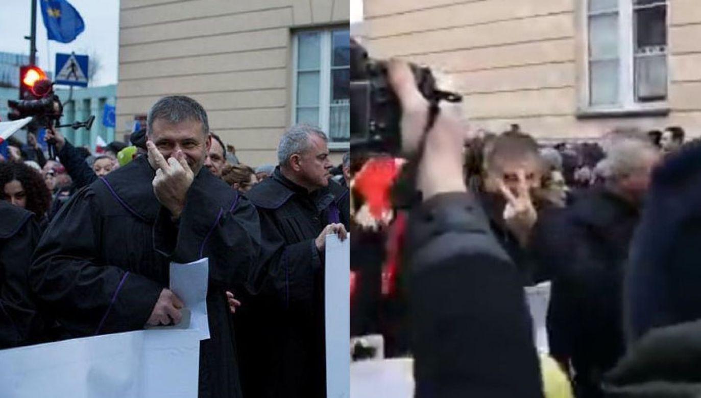 Fotografia gestu, który wykonał sędzia Żurek może być myląca (fot. Facebook/Leszek Kisielewski; Facebook/Włodek Ciejka Tv)