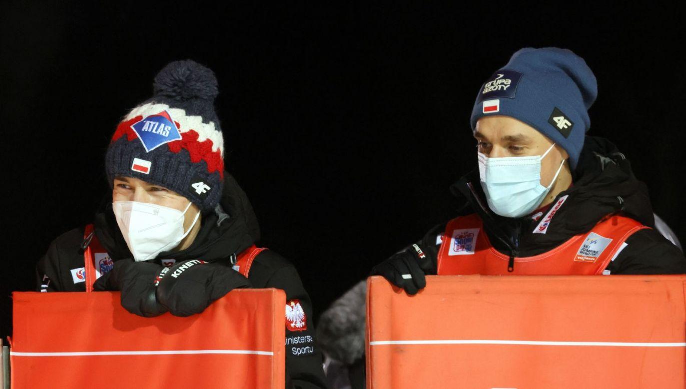 Kamil Stoch i Piotr Żyła wystąpią w sobotę w konkursie drużynowym (fot. EPA)