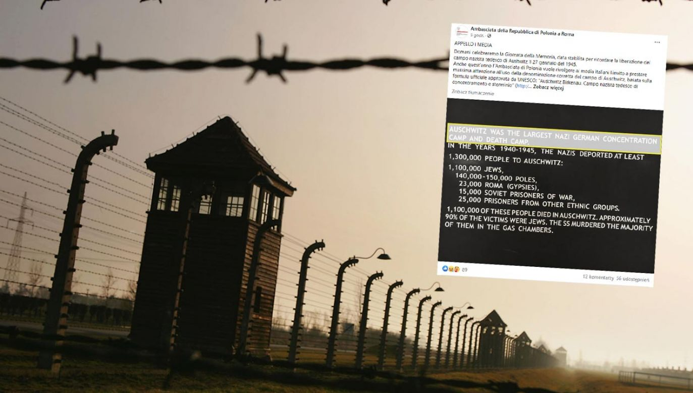 Apel Ambasady RP do włoskich mediów ws. obozu Auschwitz (fot. Scott Barbour/Getty Images; Facebook/Ambasciata della Repubblica di Polonia a Roma)