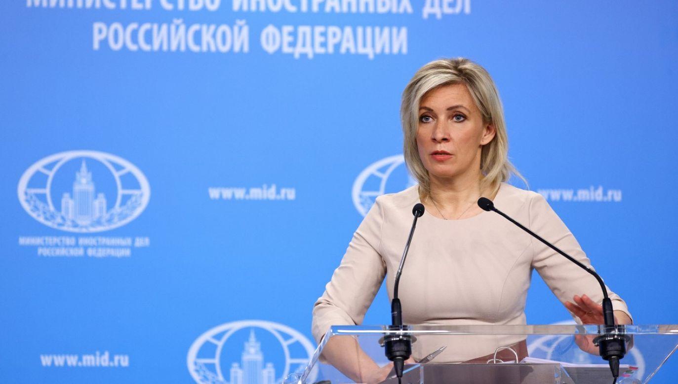 Rzeczniczka MSZ Rosji Maria Zacharowa podczas briefingu w Moskwie (fot. EPA/RUSSIAN FOREIGN MINISTRY/ HANDOUT EDITORIAL USE ONLY/NO SALES)
