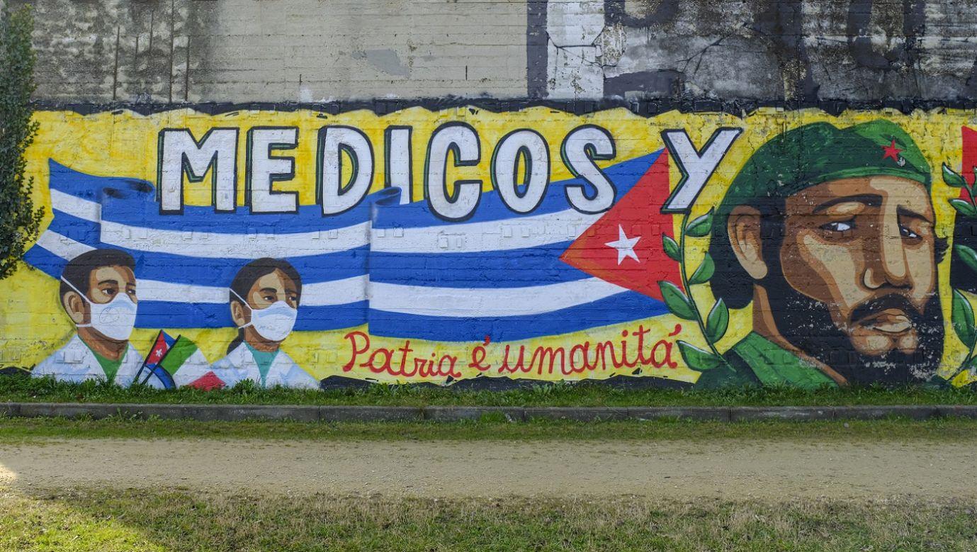 Mural stworzony w Parco Dora, aby podziękować lekarzom kubańskiej brygady medycznej Henry Reeve, działającej we włoskim Turynie podczas pierwszej fali pandemii koronawirusa COVID-19, 27 lutego 2021 r. Fot. Massimiliano Ferraro / NurPhoto via Getty Images