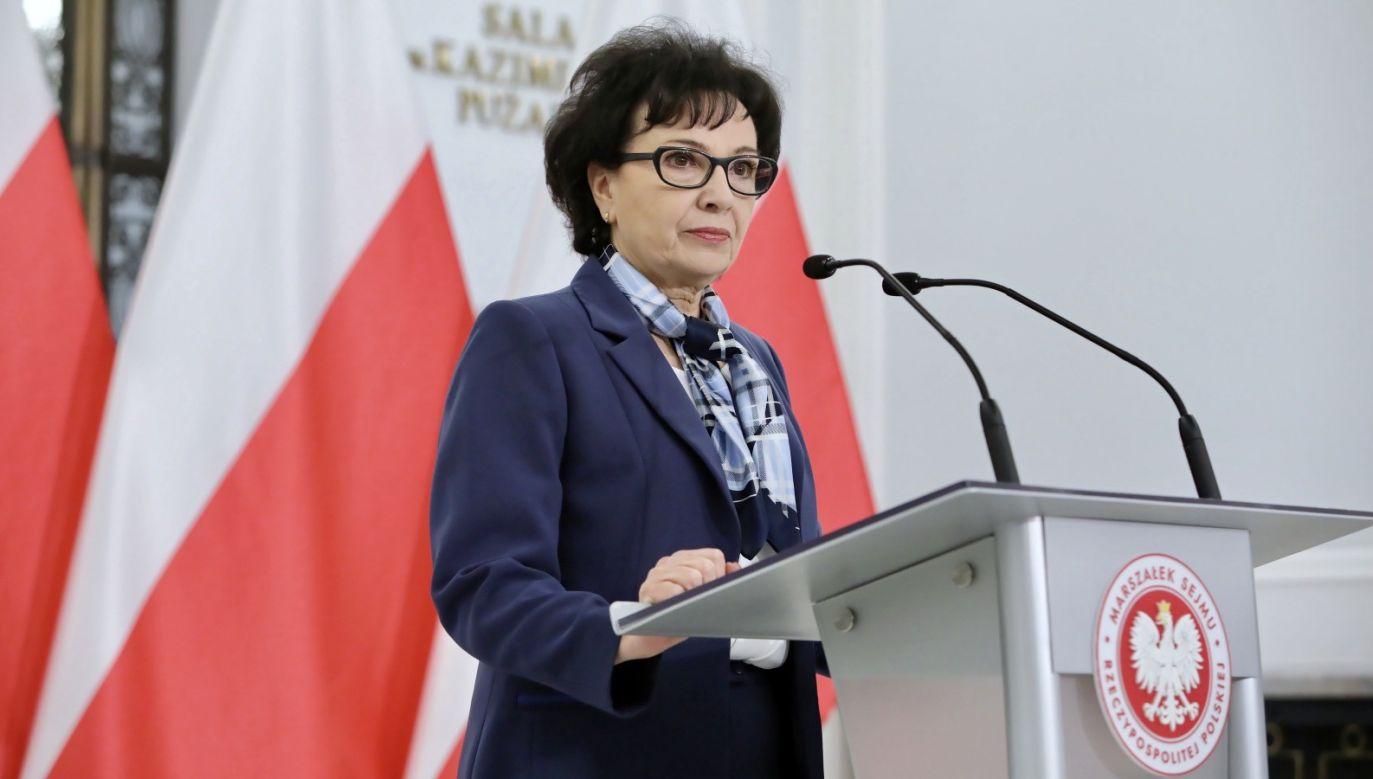 Elżbieta Witek wygłosiła orędzie (fot. PAP/Leszek Szymański)