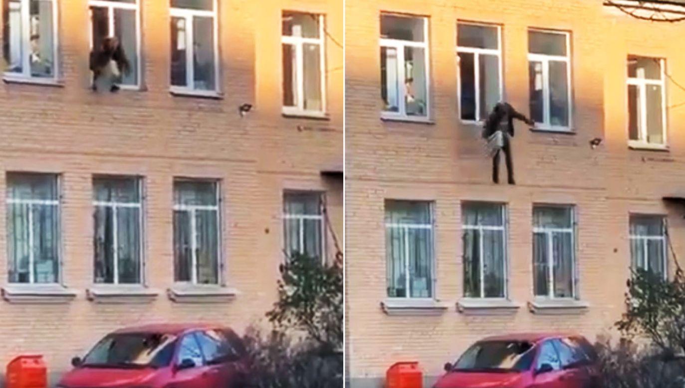 Brawurowy skok z pierwszego piętra (fot. tt/@labuszewska)