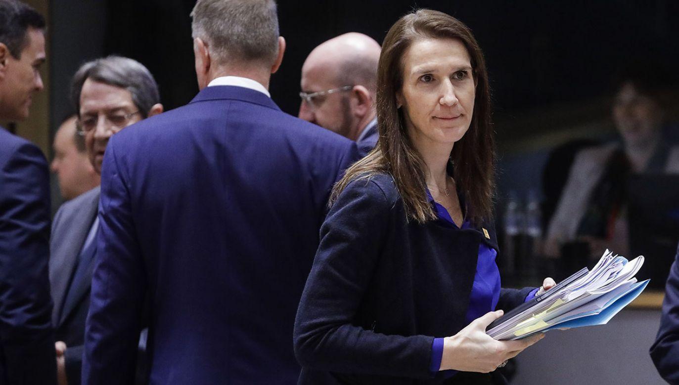 Premier rządu Belgii Sophie Wilmes (fot. B PHOTO POOL THIERRY ROGE via Getty Images)