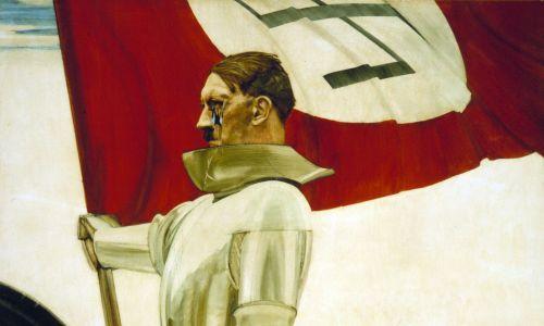 """""""Der Bannerträger"""" (Chorąży) Huberta Lanzingera, namalowany około 1935 r.  Oryginał """"zdenazyfikowany"""" z zadrapaniami i dziurą w twarzy Hitlera. Fot. US Army Center of Military History, Washington, DC/Muzeum Pamięci Holokaustu w Stanach Zjednoczonych, Domena publiczna"""