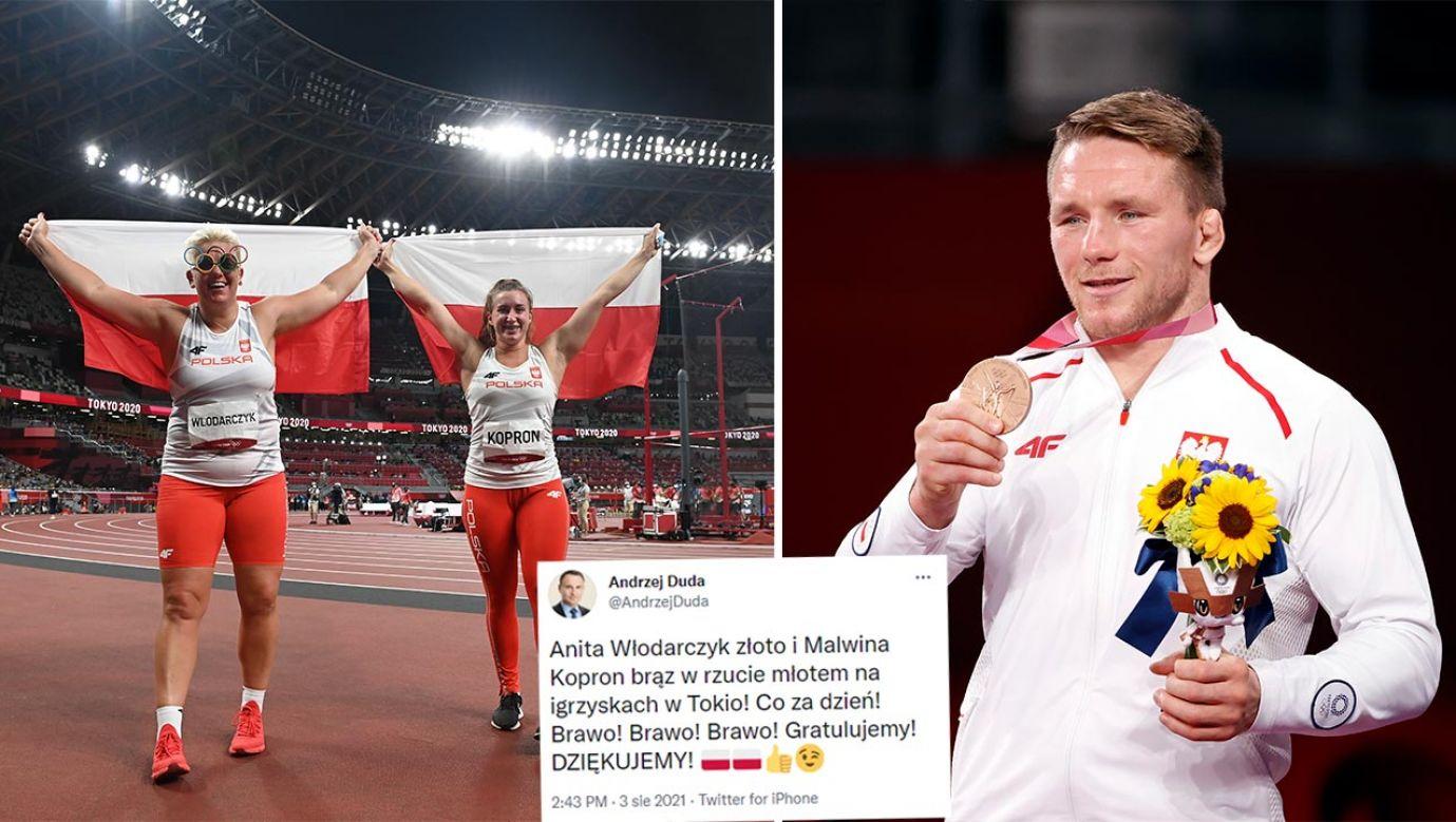 Prezydent Andrzej Duda pogratulował polskim medalistom (fot.  PAP/Leszek Szymański; PAP/EPA/RITCHIE B. TONGO)