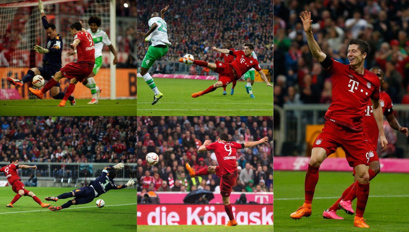 Robert Lewandowski podczas pamiętnego meczu z Wolfsburgiem (fot. Getty)