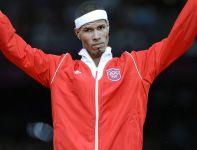 Javier Culson z Portoryko zdobył brązowy medal w biegu na 400 metrów przez płotki (fot. PAP/EPA)