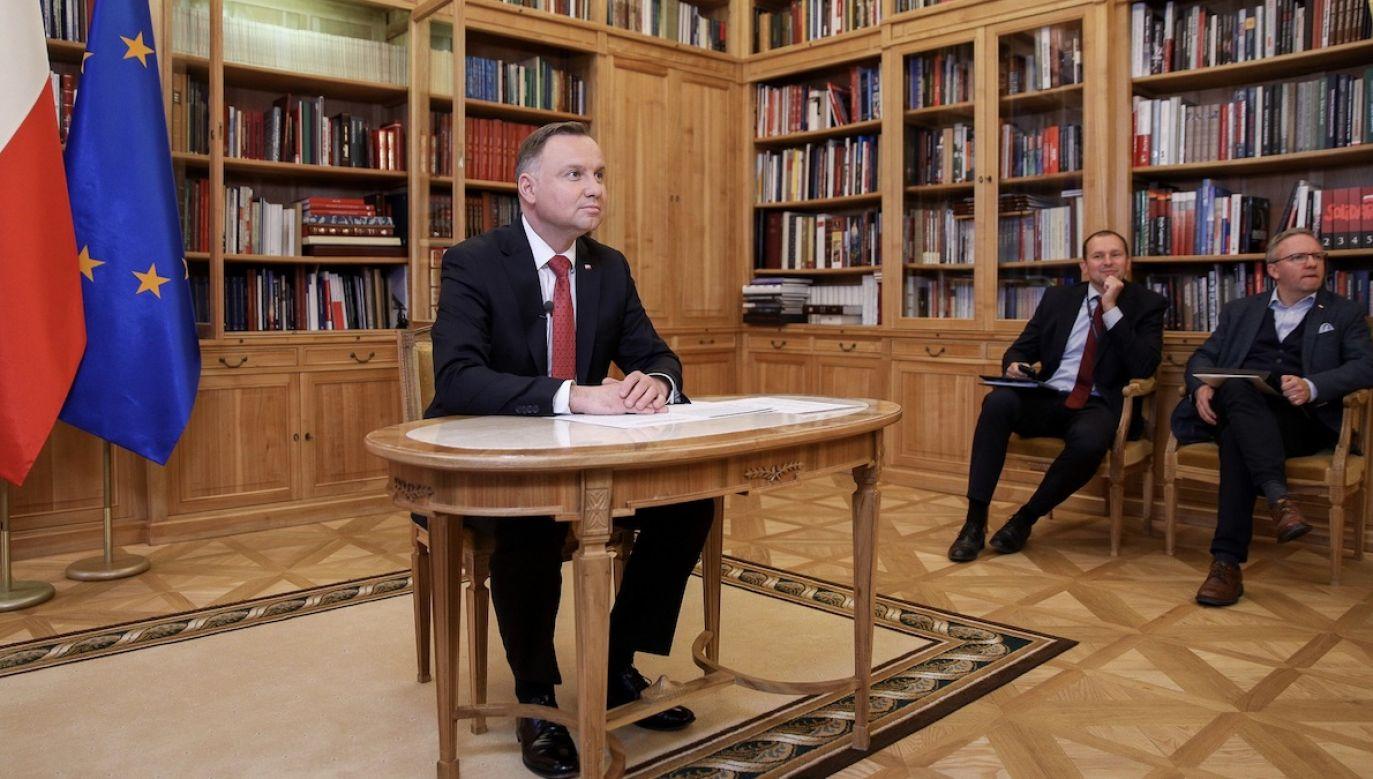 Prezydent wziął udział w zorganizowanej w USA wideokonferencji o skutkach pandemii (fot. Krzysztof Sitkowski/KPRP)