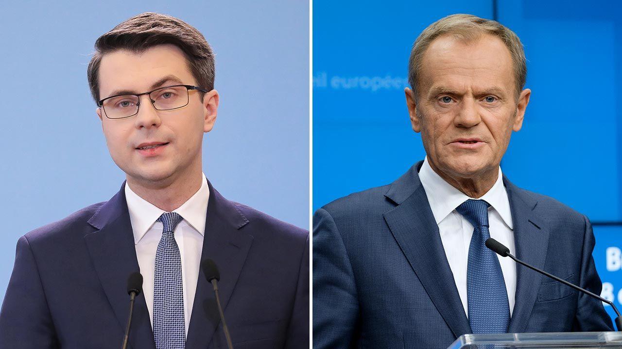 Rzecznik rządu Piotr Müller odpowiedział na słowa Donalda Tuska na temat prezesa PKN Orlen (fot. PAP/Paweł Supernak; Thierry Monasse/Getty Images))