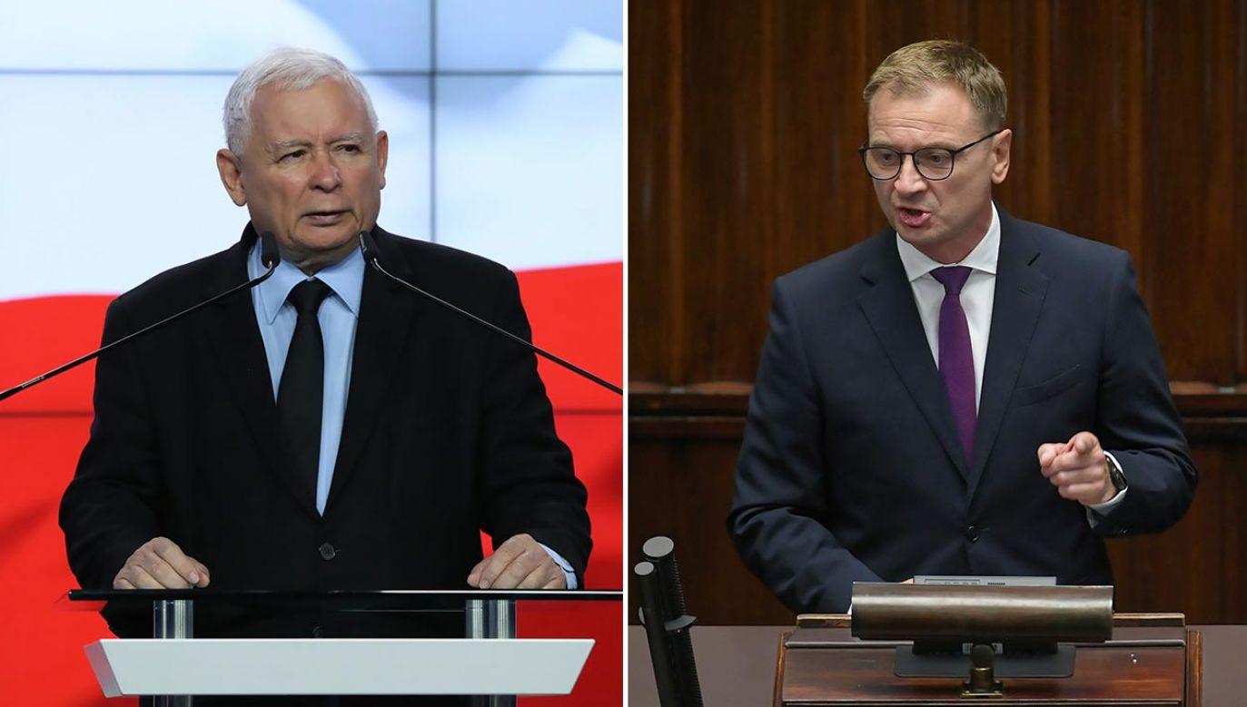 Prezes PiS Jarosław Kaczyński jeszcze nie został wicepremierem, a poseł KO Sławomir Nitras już chce jego odwołania (fot.  PAP/Tomasz Gzell,Marcin Obara)