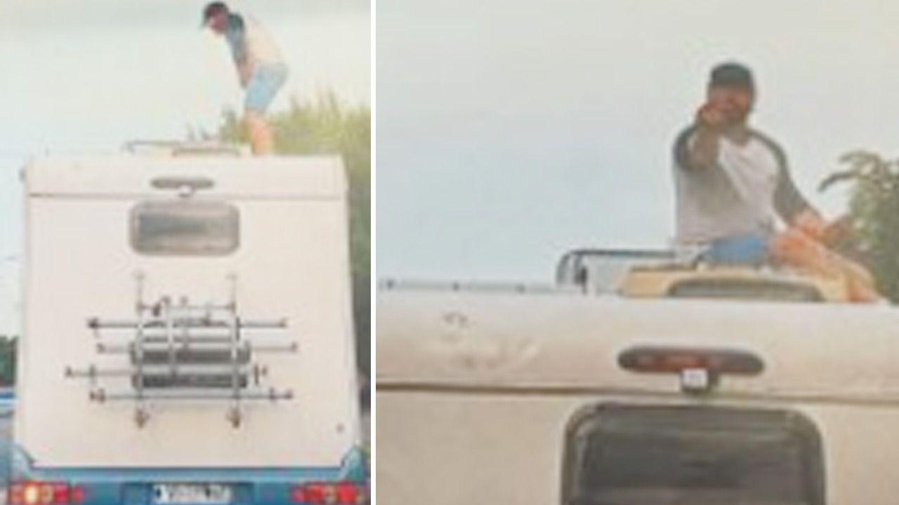 Pasażer wszedł na dach kampera (fot. Policja)